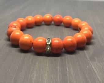 Orange Magnesite Crystal Stretch Bracelet - Gemstone Bracelet - Yoga Bracelet - Friendship Bracelet - Chakra Bracelet - Reiki Bracelet