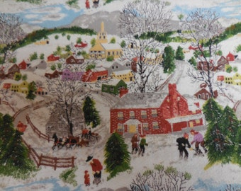 "Rare Vintage GRANDMA MOSES Barkcloth Drapery Fabric ""Deep Snow"" or ""Winter Snow"" - 20"" X 90"""
