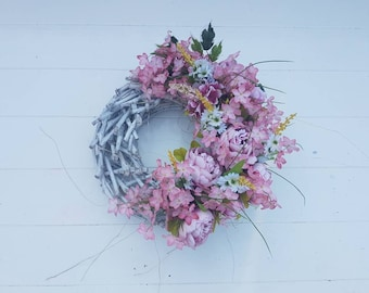 Wreath//door pendant//gift//All time//peony//old Rose, white//rugged//decoration//country//gift//brocant//door wreath