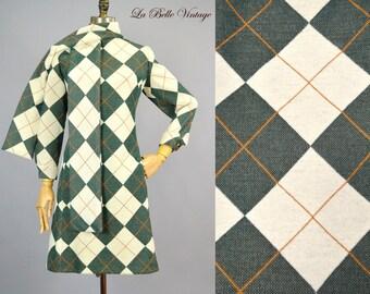 Kasper Argyle Knit Dress Scarf M L Vintage 60s Joan Leslie Trevira Angora Set