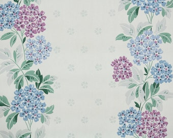 1940s Vintage Wallpaper by the Yard - Floral Wallpaper Lavender and Blue Hydrangea Stripe
