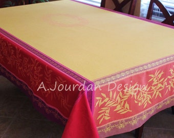 French Provence OLIVE FUCHSIA Jacquard Woven Teflon Cotton Coated Tablecloths - French Country Table Decor - French Chic Home Decor Gifts