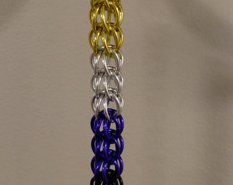 Chainmail Nonbinary Pride Keychain
