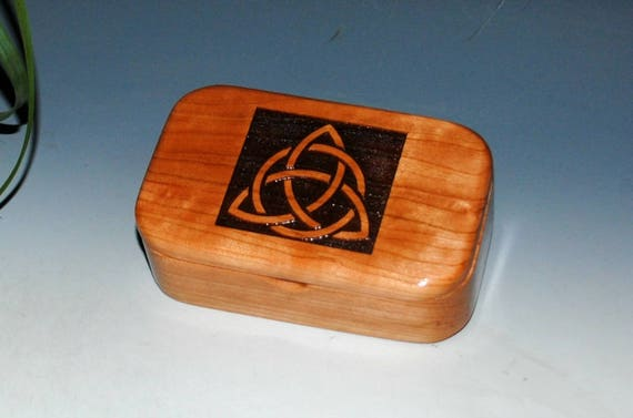 Triquetra Wood Box - Cherry Handmade Wooden Trinket Box by BurlWoodBox - Desk or Gift Box, Business Card Box -Trinity Knot, Celtic Triangle