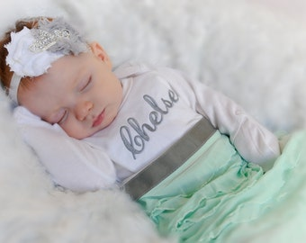 Monogram girl dress newborn baby girl clothes newborn girl personalized newborn gown baby girl clothes newborn girl take home outfit personalized baby layette gown tiara headband new baby gift set negle Choice Image