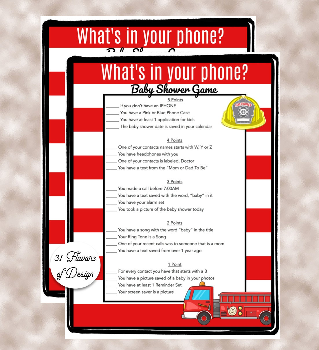 Baby Shower Game-Whats in your phone Firefighter Theme Baby