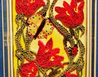 quilled garden motif paperweight ~ by Willowbrook Creations