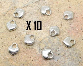 10 heart, love, silver metal charms