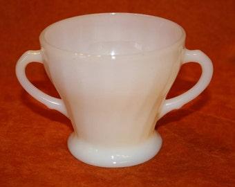 1960's Fire King Shell Pattern Milk Glass Sugar Bowl