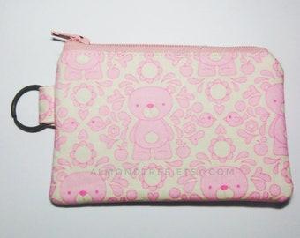 bear keyring zip purse,pink loyalty card holder purse, travel organizer, sac a main, portefeuille, id1370173, portemannaie id lanyard gift