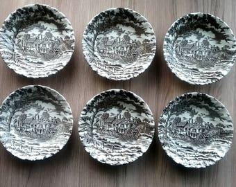 Royal Mail Fine Staffordshire Berry Dessert Bowls Set of Six Vintage Black Brown Transferware Bowls Farmhouse Kitchen Decor