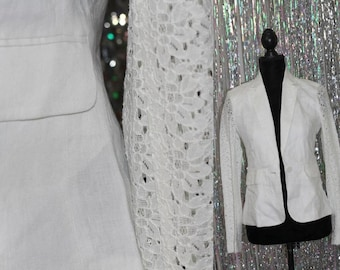 BCBG Maxazria   Winter White Blazer with Lace Sleeves (0) *New with Tags