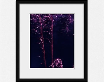 Fireworks photography, living room decor, sparkle prints, purple wall art, abstract photo, fireworks print black pink wall decor celebration