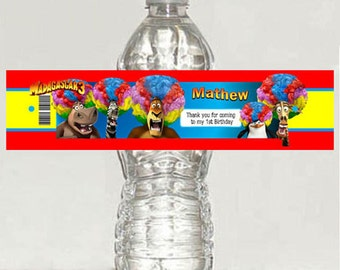 Madagascar personalized gloss water bottle label