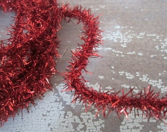 Mini Red Tinsel Chenille Trim Package of Five Yards Wired Tinsel Trim