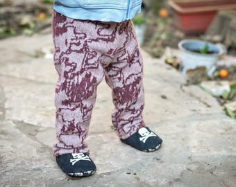 Abstract Hound's-tooth: 100% Merino Wool Trousers 6-12 Months