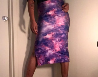 Purple Pink Galaxy Print Knee Length Pencil Skirt with Side Slit