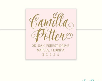 Blush Pink & Gold or Silver Calligraphy Return Address Label  - Square, Circle, Rectangle or Wrap - Sea Paper Designs
