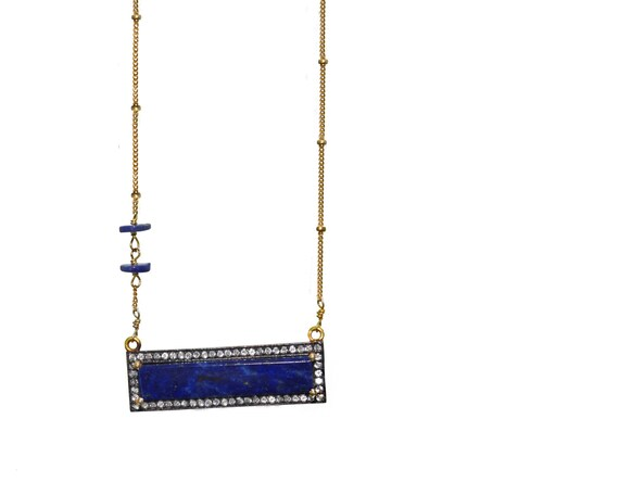 Lapis Lazuli Horizontal Bar Necklace. Pave White Topaz Encrusted . Asymmetrical Disc Beads, Gold Filled Chain.