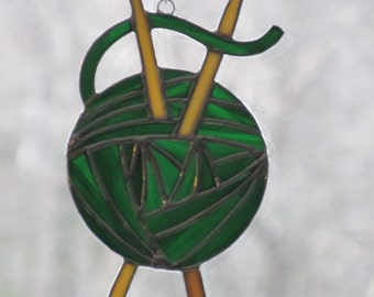 Ball of Yarn Stained Glass Suncatcher