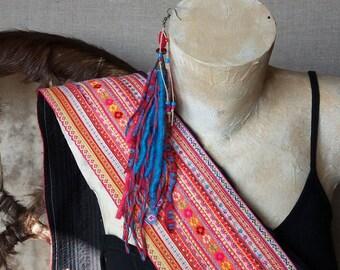 Long single earring / ONE SINGLE EARRING, hippie earring, a single loop, single loop, shamanic ethnic jewelry