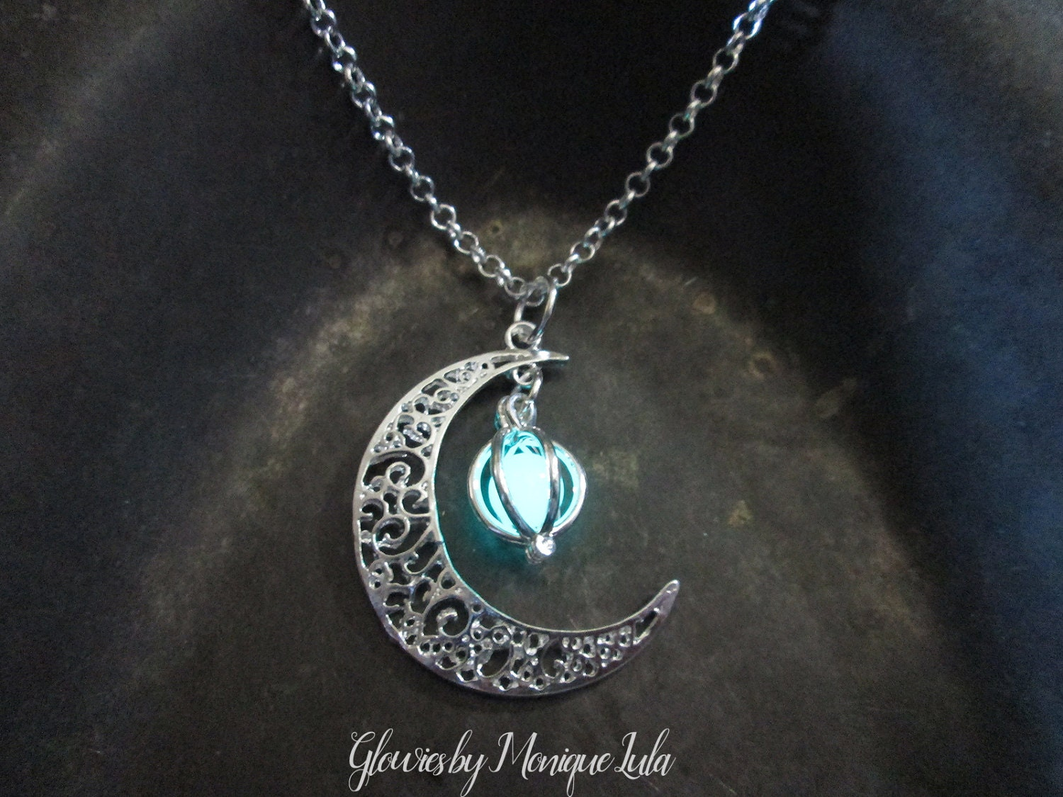 glow karlworldart pendant the forest jewelry necklace glowing wish on by etsy of pin cyan tree