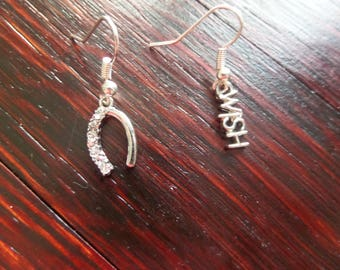 Wish Earrings, Horseshoe and Wish Charms in Silver, Charm Earrings, Tiny Jewelry, Small Jewelry