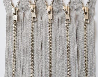 YKK Zippers-Silver Nickel Teeth Standard Pull Metal Zippers - NUMBER 5s (5) Pieces - Castle Grey 576- Available in 14 and 18 Inch