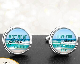 Beach Wedding Cufflinks Personalized Handmade Cufflinks for Groom Fiance Men