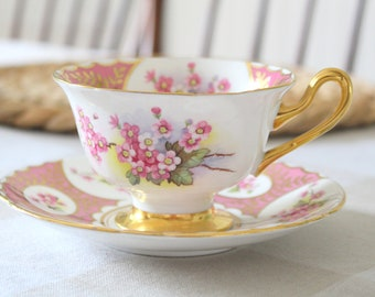 RARE SHELLEY, Vintage, English Fine Bone China Footed Tea Cup & Saucer by Shelley, Patches and Rose Spray Pattern - ca. 1940 - 1966