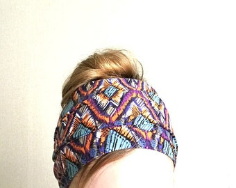 Purple long head scarf, wraparound headband, Tie on headband, Stretchy thin headwrap, hair accessories tie up jersey headscarf