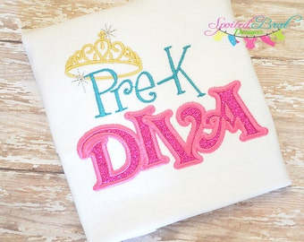 Pre-K Diva  Embroidered Tee, Back to School Shirt, Girls, Back to School, Glitter and Crown