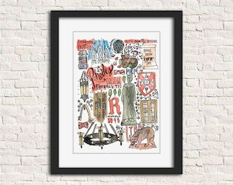 Rhodes College/Southwestern Illustration Art Print // 8x10 and 11x14