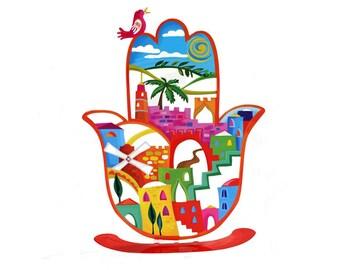 Jerusalem Hamsa , Hamsa , Hamsa hand, Judaica, Jewish gifts, Evil eye Hamsa, Home decor, Metal Hamsa, Judaica art, Table decoration