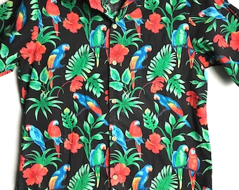 Vintage Hawaiian Shirts/floral shirts/hibiscus/hawaiian shirt/Small/Parrot/vacation/palm trees