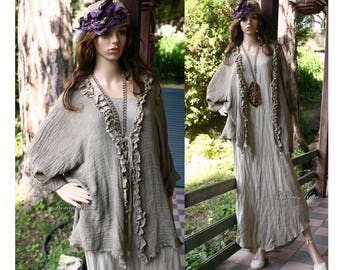 Cili Khaki - Bohemian Romantic Hand Dyed Linen Cotton Gauze Jacket with Frills Lagenlook Clothing
