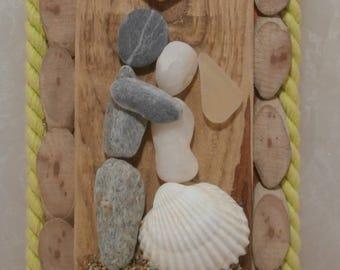 Wedding Gift | Handmade | Wedding Couple Pebbles | Driftwood & Pebbles | Driftwood Art | Beach Wedding | Happy Couple | Driftwood Pebbles