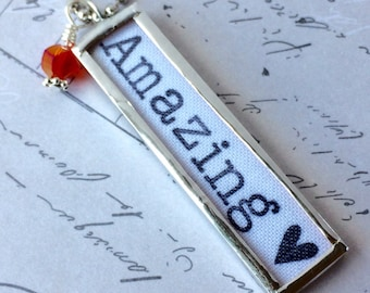 Amazing Necklace, Word Jewelry, Mother's Day Gift, Silver Charm