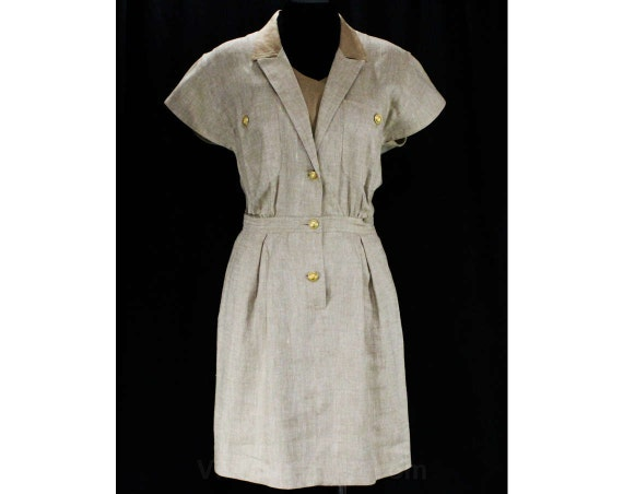 Valentino Bust 47929 Short Label 40 V Italy Designer in Dress Tailored Miss Dress Size Office Linen 1980s 8 Made Sleeve Khaki fnUnqR5Tw
