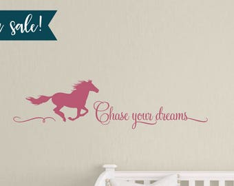 """ON SALE 36"""" Chase Your Dreams Horse Wall Decal in Lipstick, Vinyl Wall Decals, Horse Decals, Childrens Wall Decals - 15"""