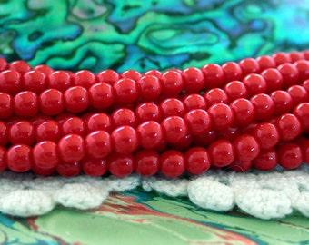 4mm Druks, Czech Glass Druks, Round Glass Beads, Red Beads, Beads, Druk Beads CZ-213