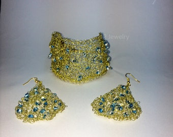 Gold Wire Crochet Jewelry Set, Bridesmaid Jewelry, Openwork Cuff Bracelet and Dangle Earrings, Evening Jewelry