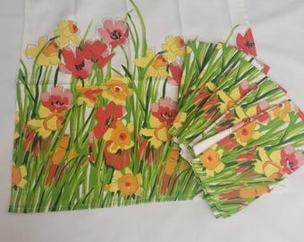 Ensemble de Vera Neumann Floral Print pavot tulipe serviettes vintage de 6 NOS