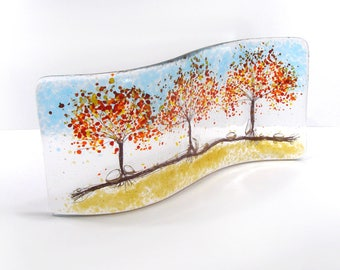 Fused Glass Curve, 3 Autumn Trees, Glass Art, Gift, free standing glass
