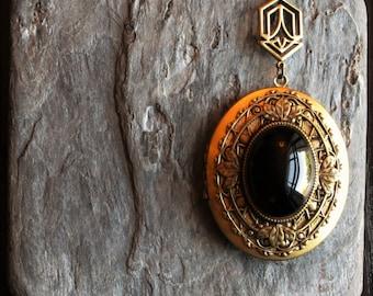 Art deco onyx locket, oval gemstone locket, large locket necklace, black locket, art deco locket, long necklace, holiday gift ideas