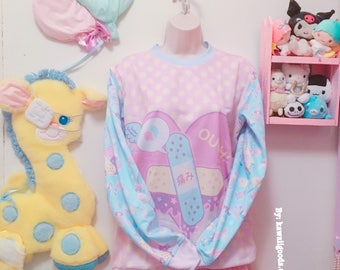 OUCH! Bandage Heart Sweater, Kawaii Sweater Size X-Small