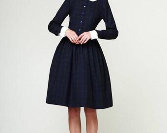 Plus size dress 1950s dress 50s dress Peter pan collar dress Long sleeve dress Wedding guest dress Handmade Dress with pockets Pleated dress