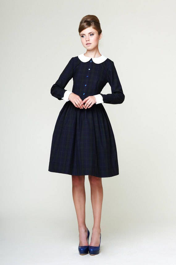 Plus Size Dress 1950s Dress 50s Dress Peter Pan Collar Dress