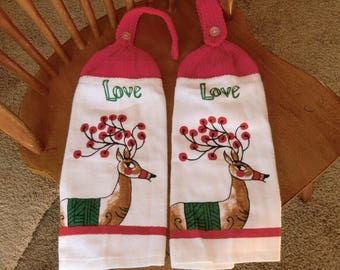 Christmas - Love W/Reindeer  Knit Top Kitchen Towels