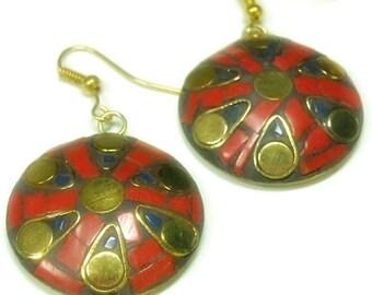 Sale  Indie Mosaic Earrings - Tibetan Dangle Earrings - Inlay Earrings - Bohemian - Red, Gold, Blue